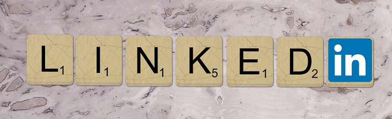 LinkedIn logo in scrabble tiles